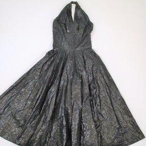 Vintage 50s S Black Halter Dress Circle Skirt